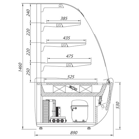 bellissima serve over chilled counter technical drawing