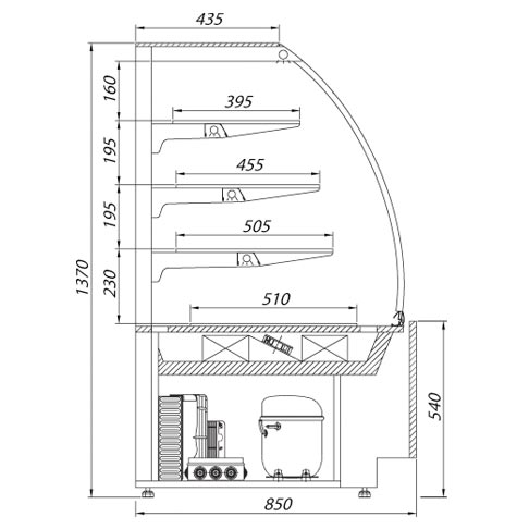 carmella serve over chilled food and beverage counter technical drawing