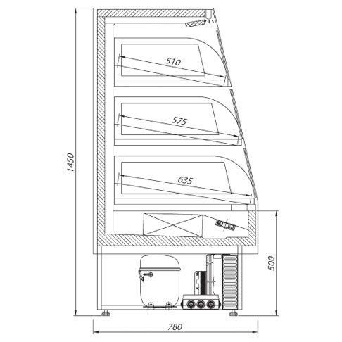 casetto multi deck refrigerated counter technical drawing