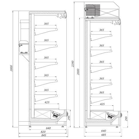 dakar multi deck refrigerated display technical drawings