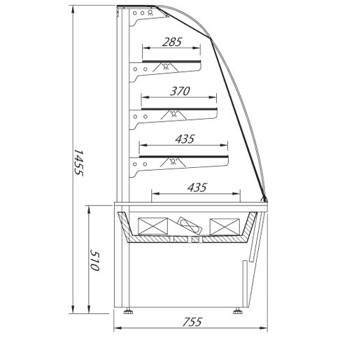 gastro serve over chilled food and beverage counter technical drawing