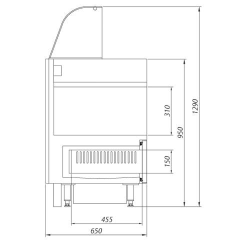 heated hotdog counter technical drawing