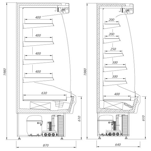 martini multi deck refrigerated display cabinet technical drawing