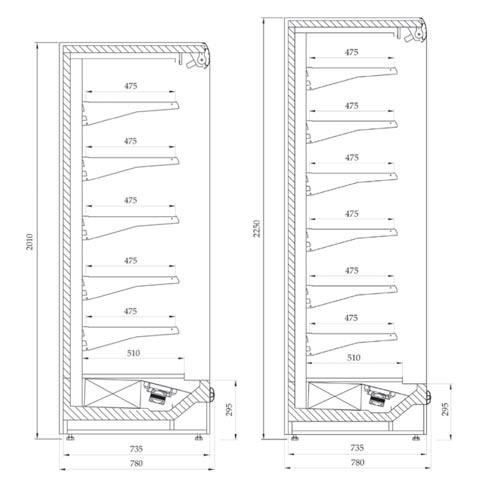 prague maxi slim multi deck chiller display cabinet technical drawing