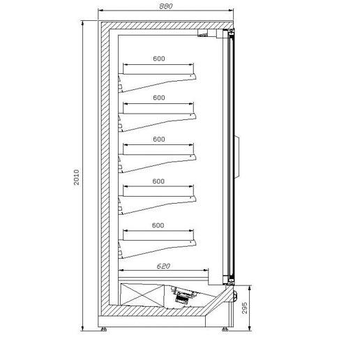 oslo display freezer technical drawing
