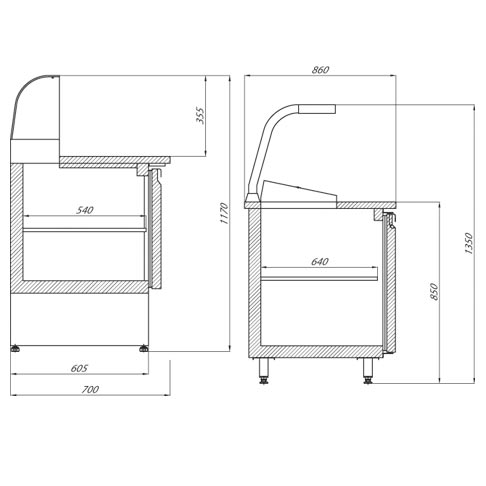 heated pizza counter table technical drawing