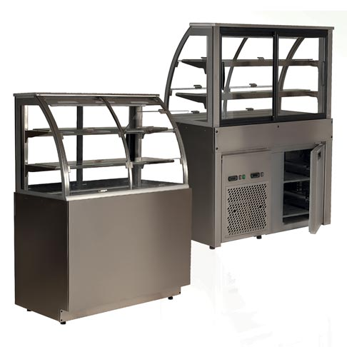 refrigerated display counter for beverages and food