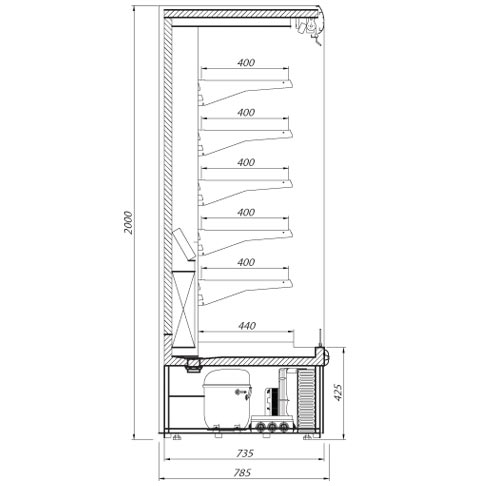 ryga multi deck refrigerated display cabinet technical drawing