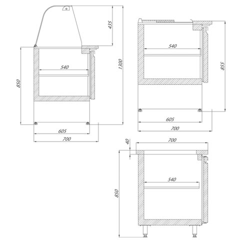saladette salad serving counters and cabinets technical drawing