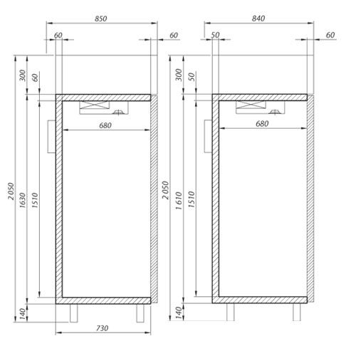 upright service cabinet technical drawing