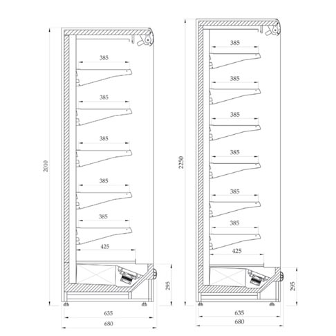 prague super slim multi deck chiller display cabinet technical drawing