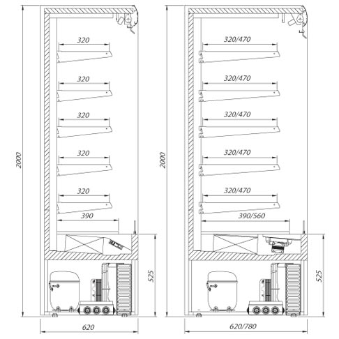 varna multi deck refrigerated display cabinet technical drawing