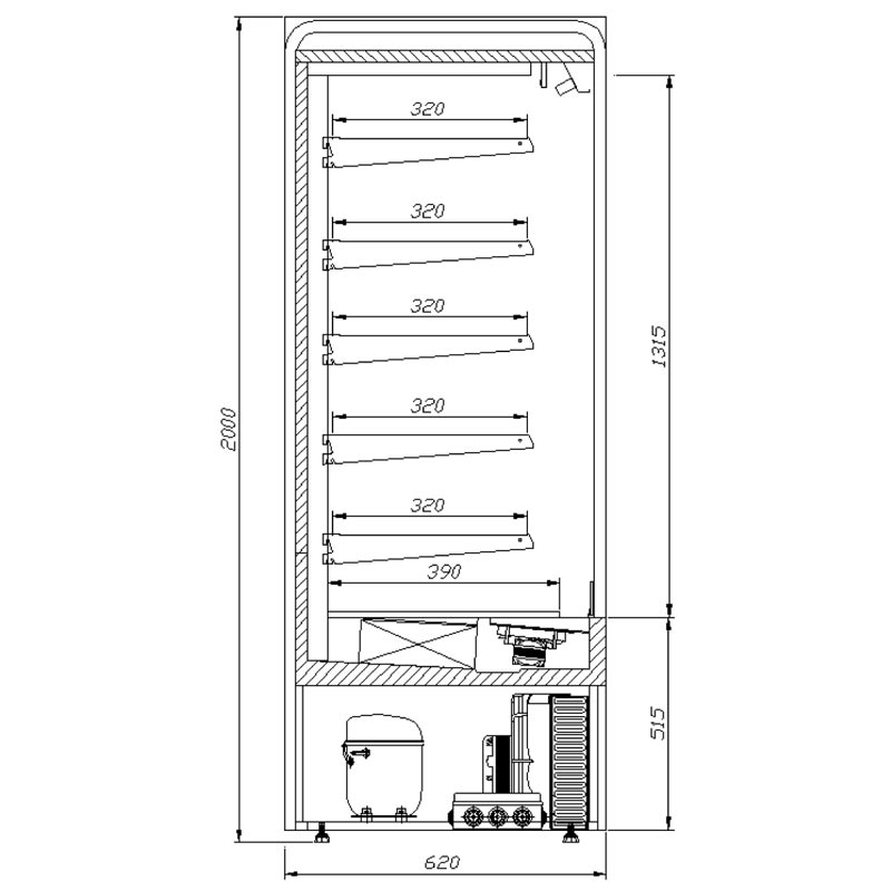 varna multi deck refrigerated display cabinet with roller shutter technical drawing