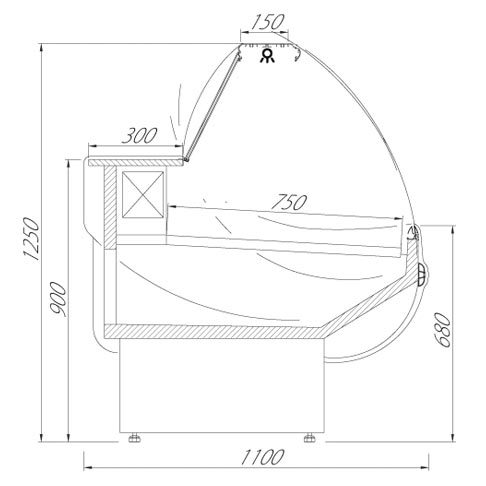 veroni serve over chilled food and beverage counter technical drawing