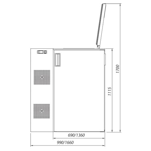 food waste disposal cabinet technical drawing