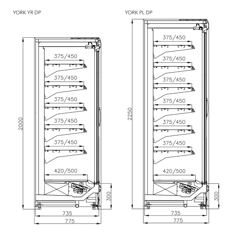 york-multi-deck-chiller-cabinet-technical-drawing